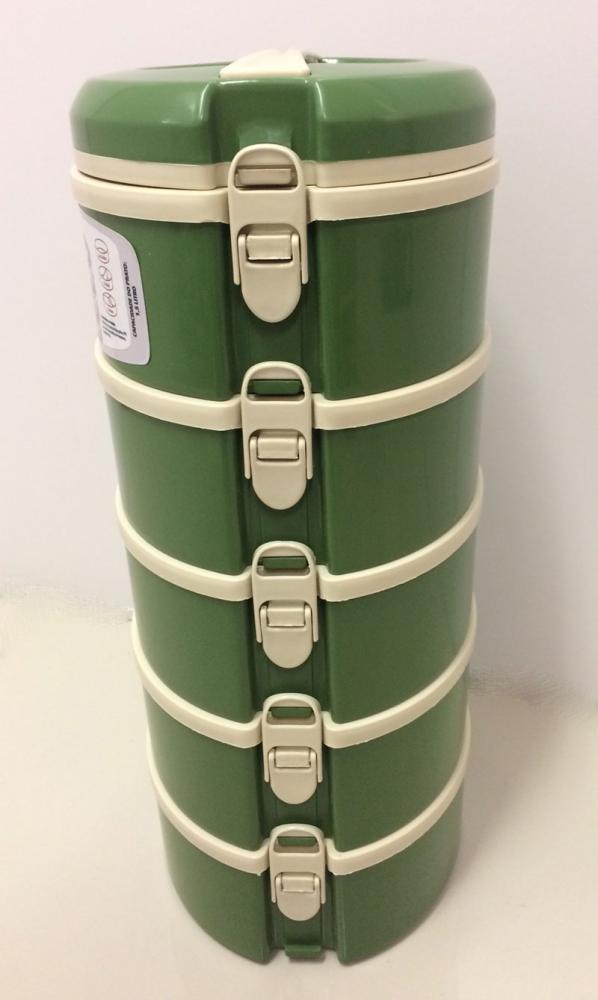 Marmita Térmica Verde 5 andares - 2 sem divisória, 1 com 2 divisórias e 2 com 3 divisórias - Taumer  - Lojão de Ofertas