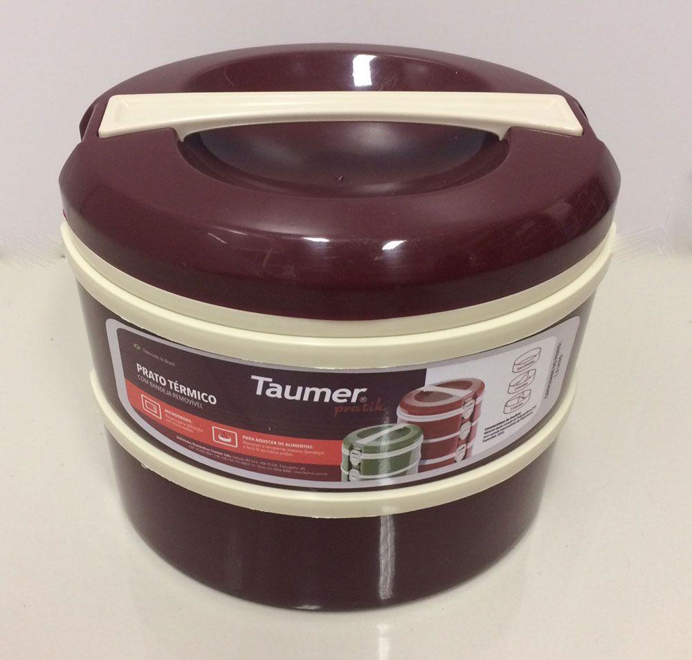 Marmita Térmica Vinho 2 andares - 1 sem divisória e 1 com 2 divisórias - Taumer  - Lojão de Ofertas