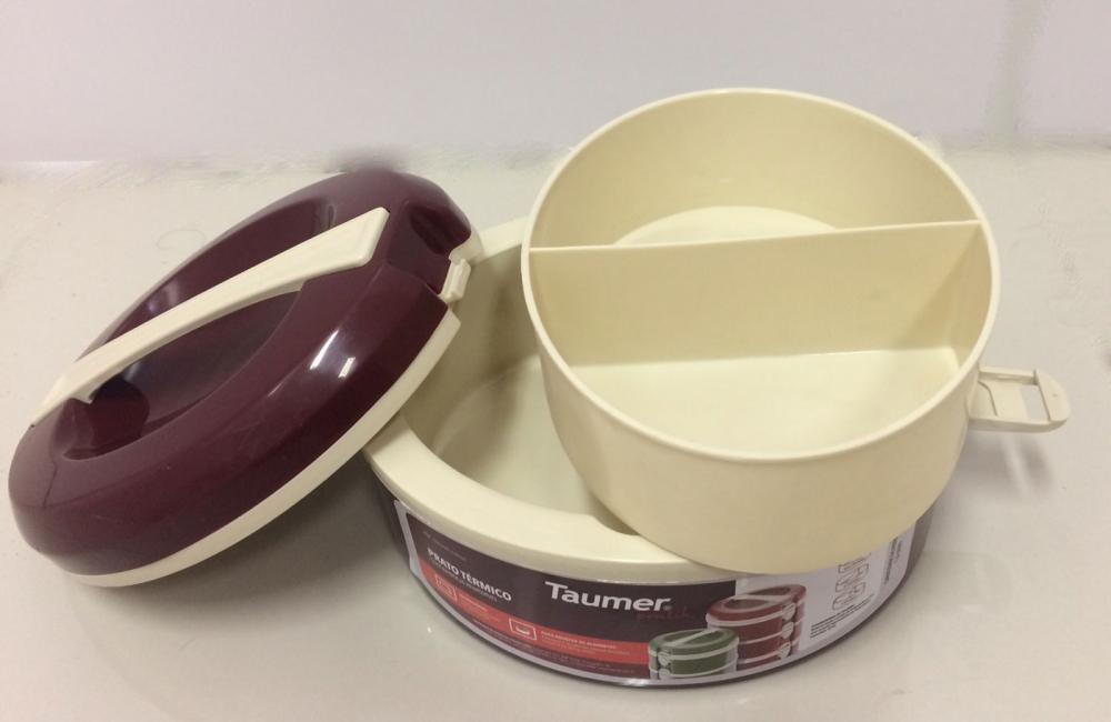 Marmita Térmica Vinho - 2 divisórias - Taumer  - Lojão de Ofertas