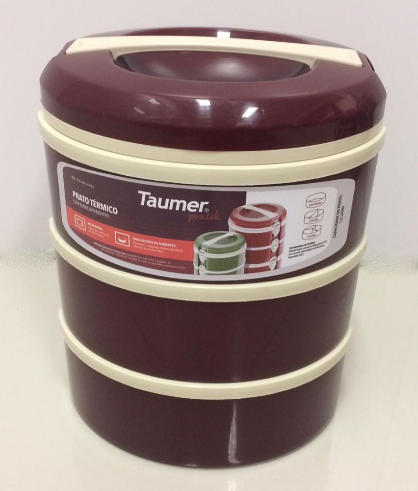 Marmita Térmica Vinho 3 andares - 1 sem divisória,  1 com 2 divisórias e 1 com 3 divisórias - Taumer  - Lojão de Ofertas