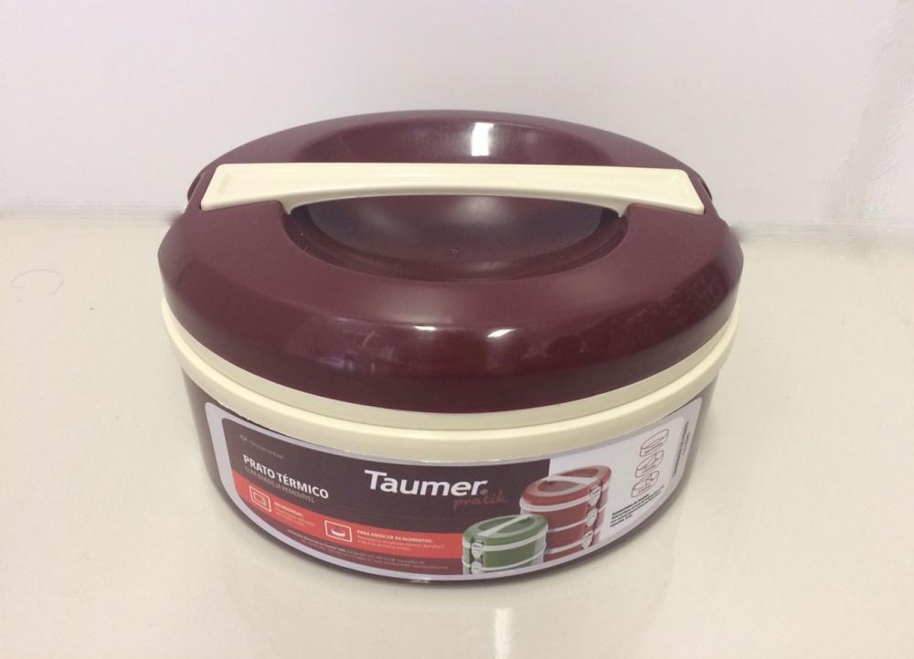 Marmita Térmica Vinho - 3 divisórias - Taumer  - Lojão de Ofertas