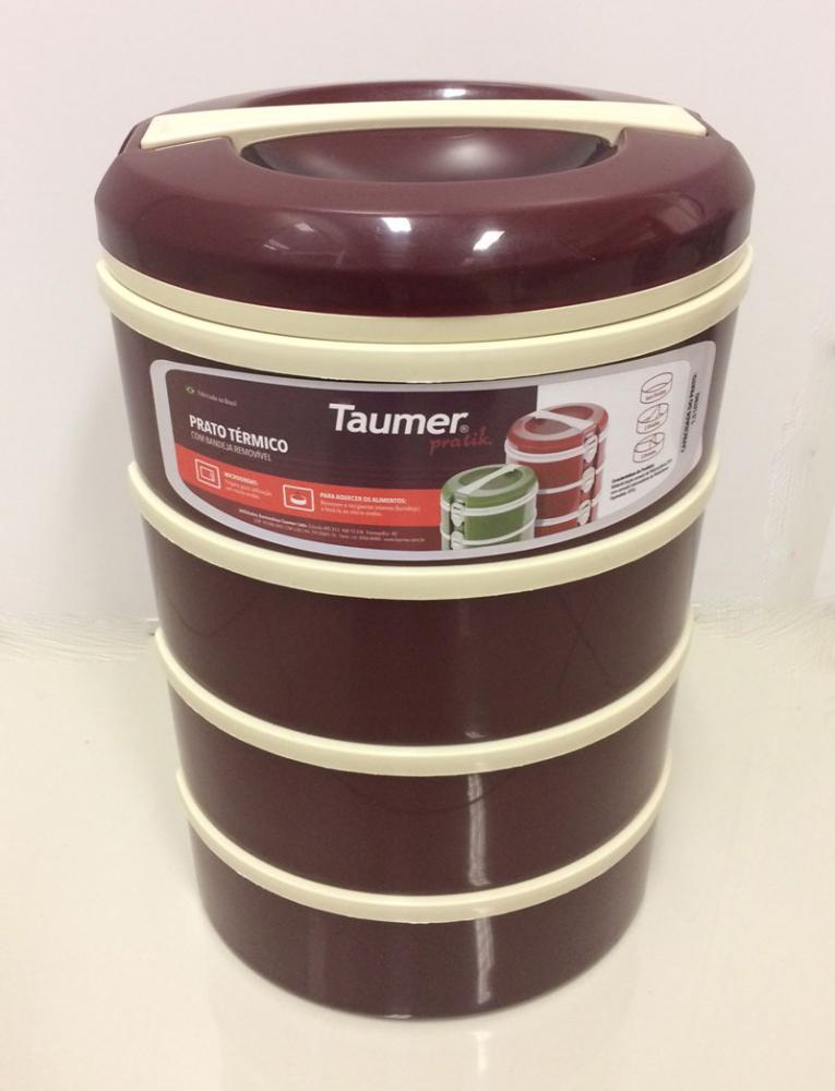 Marmita Térmica Vinho 4 andares - 2 sem divisória, 1 com 2 divisórias e 1 com 3 divisórias - Taumer  - Lojão de Ofertas