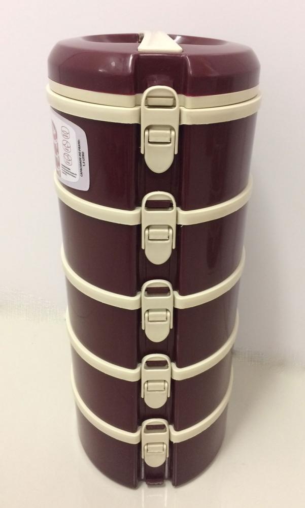 Marmita Térmica Vinho 5 andares - 2 sem divisória, 1 com 2 divisórias e 2 com 3 divisórias - Taumer  - Lojão de Ofertas