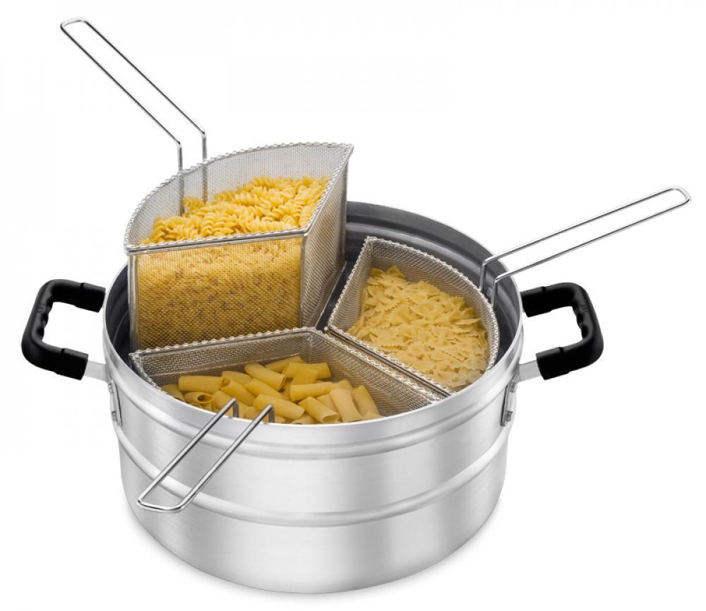 Multi-Cozer - Caçarola para Cozinhar Massa - com 3 Cestos - sem tampa - Alumínio ABC  - Lojão de Ofertas