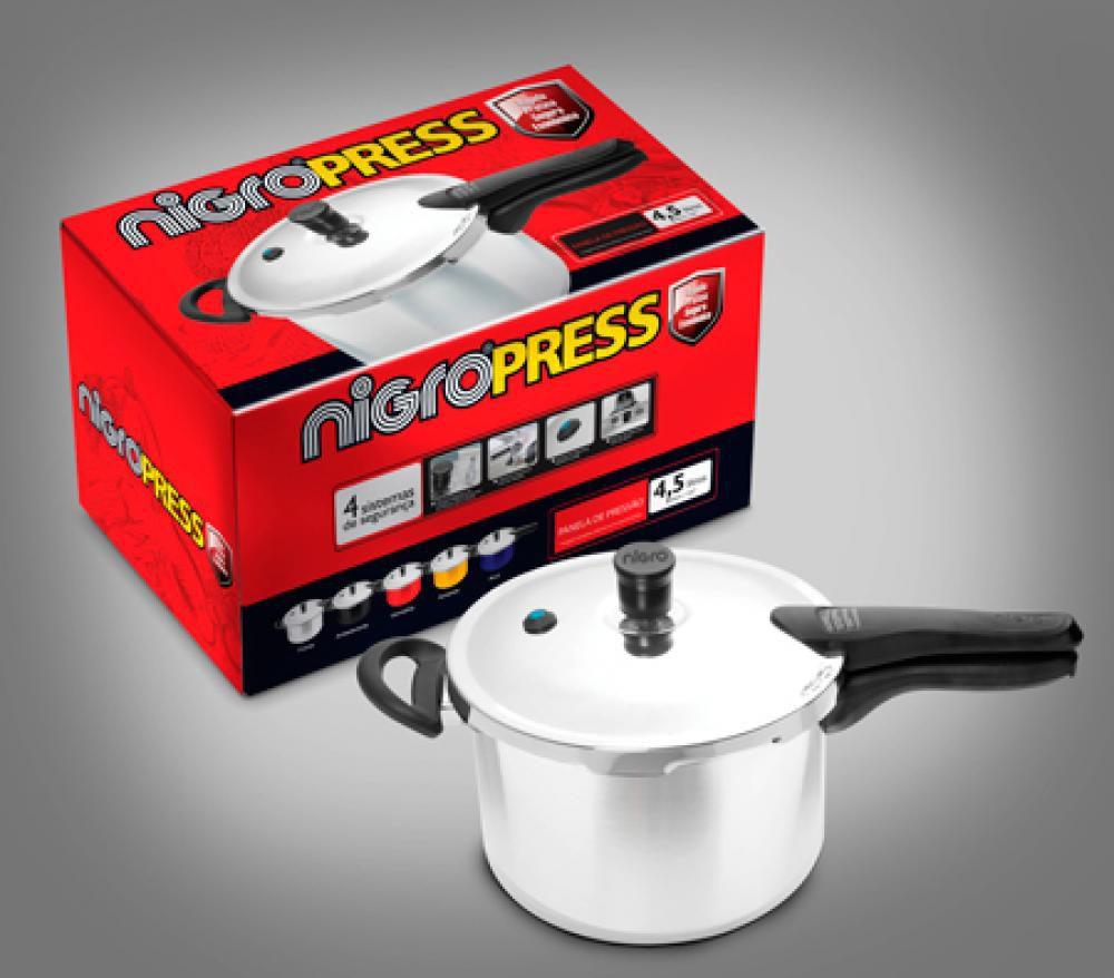 Panela de Pressão 4,5 litros - Press Polida - Nigro  - Lojão de Ofertas