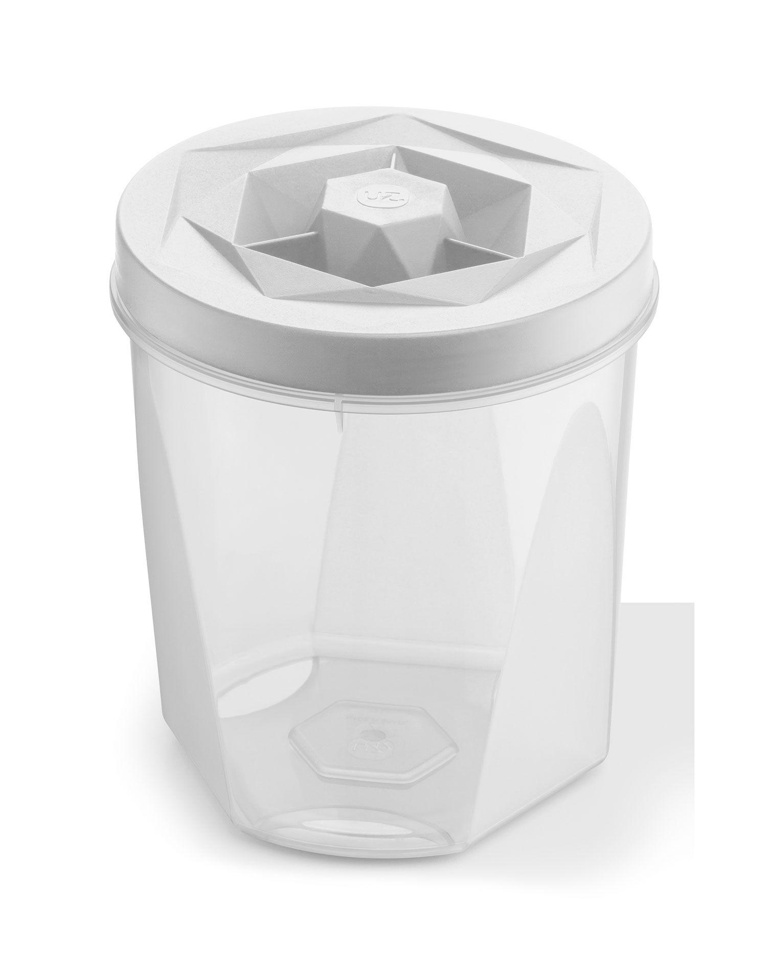 Porta Mantimentos 1,1 litros Branco - Linha Vision - UZ Utilidades  - Lojão de Ofertas