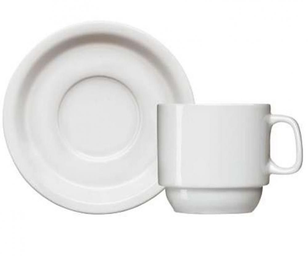 Xícara de Chá com Pires 220 ml (dúzia) - Linha Iguaçu - Germer  - Lojão de Ofertas