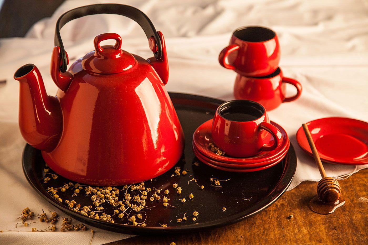 Xícara e Pires Tropeiro 150 ml - Vermelho - Ceraflame  - Lojão de Ofertas