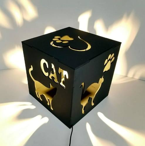 Luminária Abajur Cubo Preto I Love Cat Linha Pet