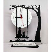 Relógio de Mesa ou Parede Cão Gato e Rato Olhando a Lua