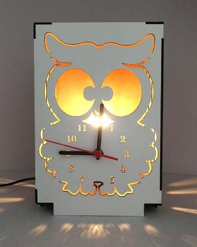 Luminária Abajur Mesa Relógio Coruja