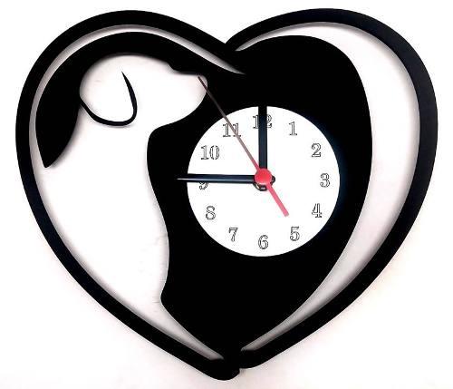 Relógio de Parede Coração Com Cão Linha Pet