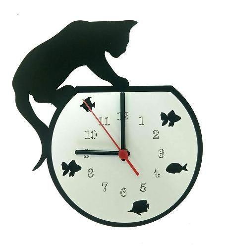 Relógio de Parede Gato Em Cima Do Aquário Linha Pet