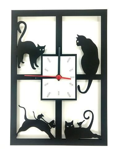 Relógio de Parede 4 Gatos na Janela Linha Pet