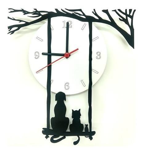 Relógio de Parede Cão Gato Rato Olhando A Lua Linha Pet