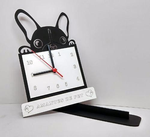 Relógio de Mesa ou Parede Cachorro Bulldog Frances Linha Pet