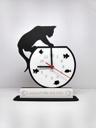 Relógio de Mesa ou Parede Gato Em Cima Do Aquário Linha Pet