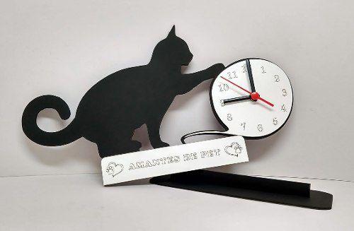Relógio de Mesa ou Parede Gato Com Bola De Lã Linha Pet