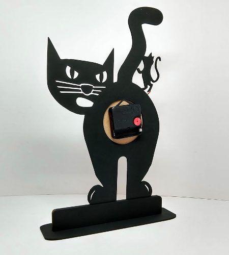 Relógio de Mesa ou Parede Gato Com Rato Em Cima Linha Pet