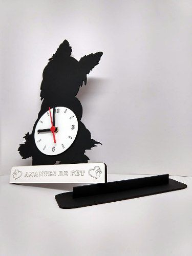 Relógio de Mesa ou Parede Cão Yorkshire Linha Pet