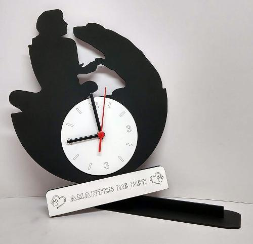 Relógio de Mesa ou Parede Cão e Sua Dona Linha Pet