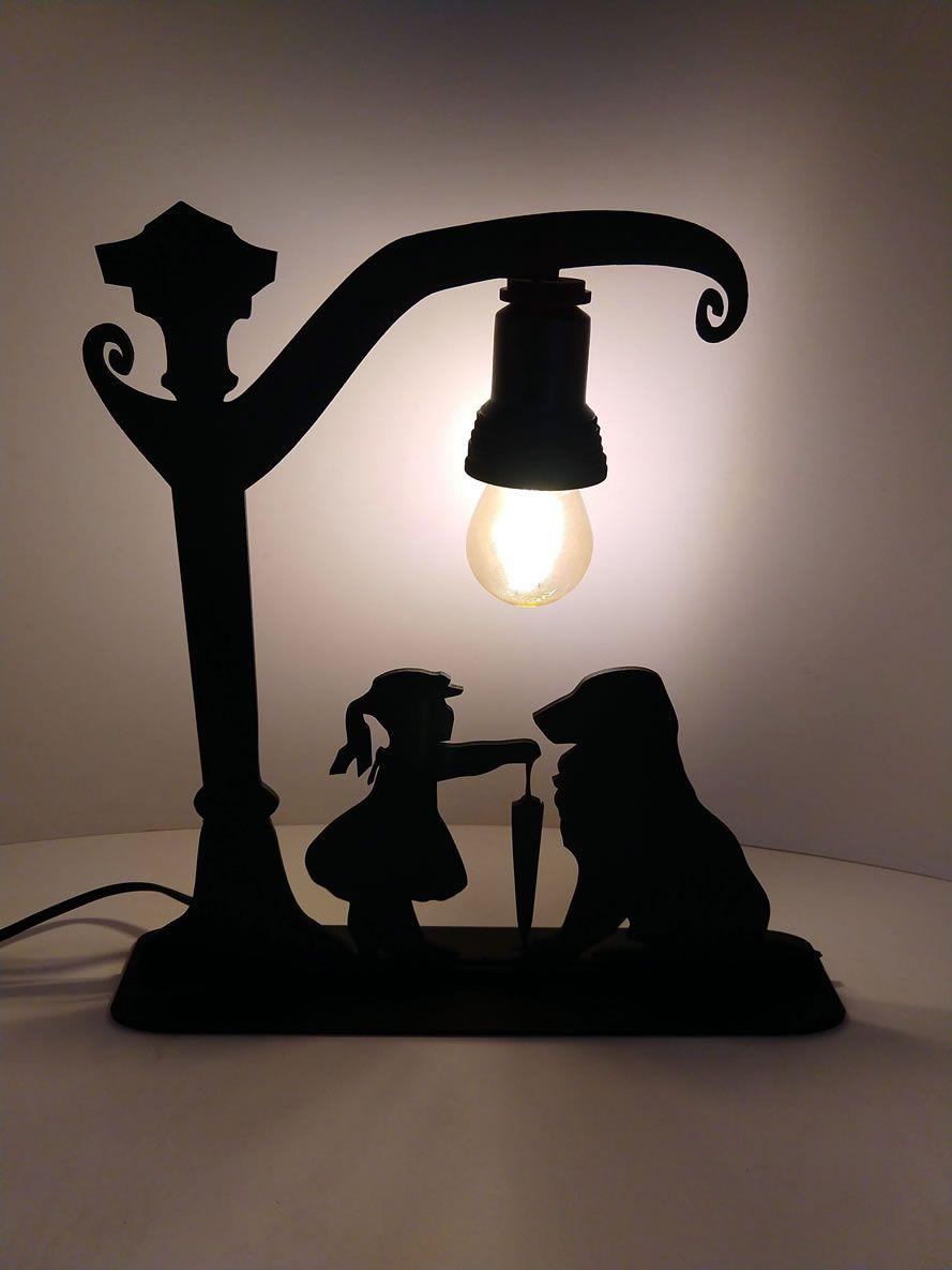 Luminária Abajur A Menina e seu Cão Linha Pet