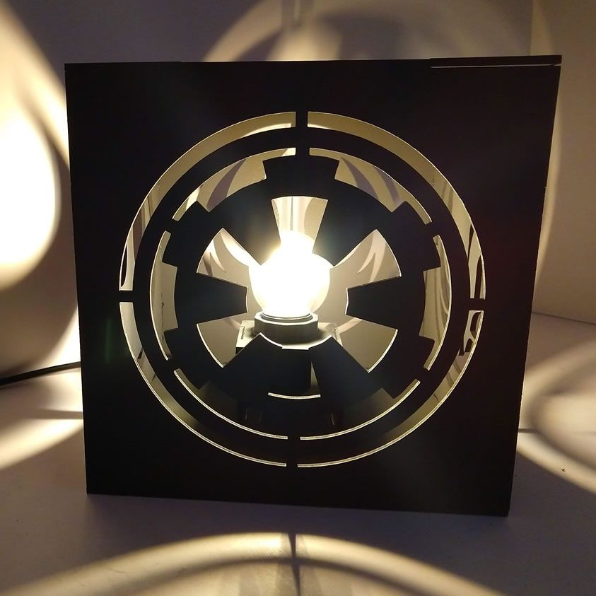 Luminária Abajur Cubo Preto Star Wars Símbolos