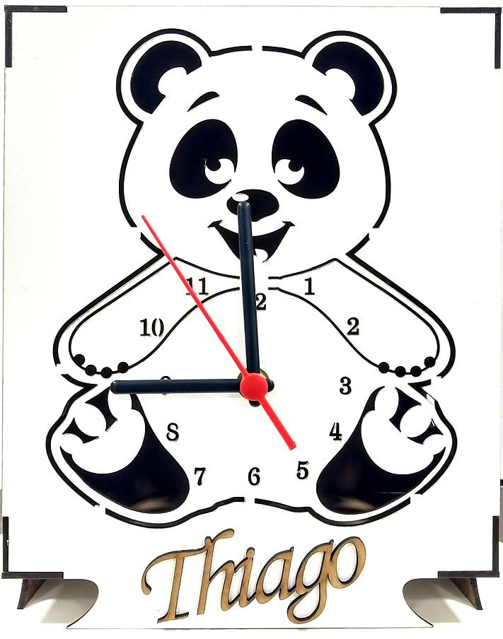 Luminária Abajur Mesa Relógio Branco Urso Personalizado