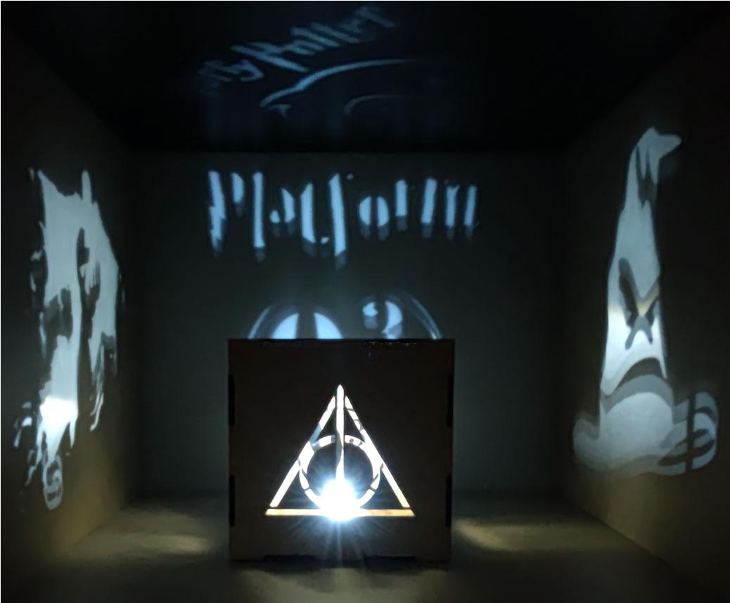 Luminária Cubo Led Tema Geek MOD3 BRANCA