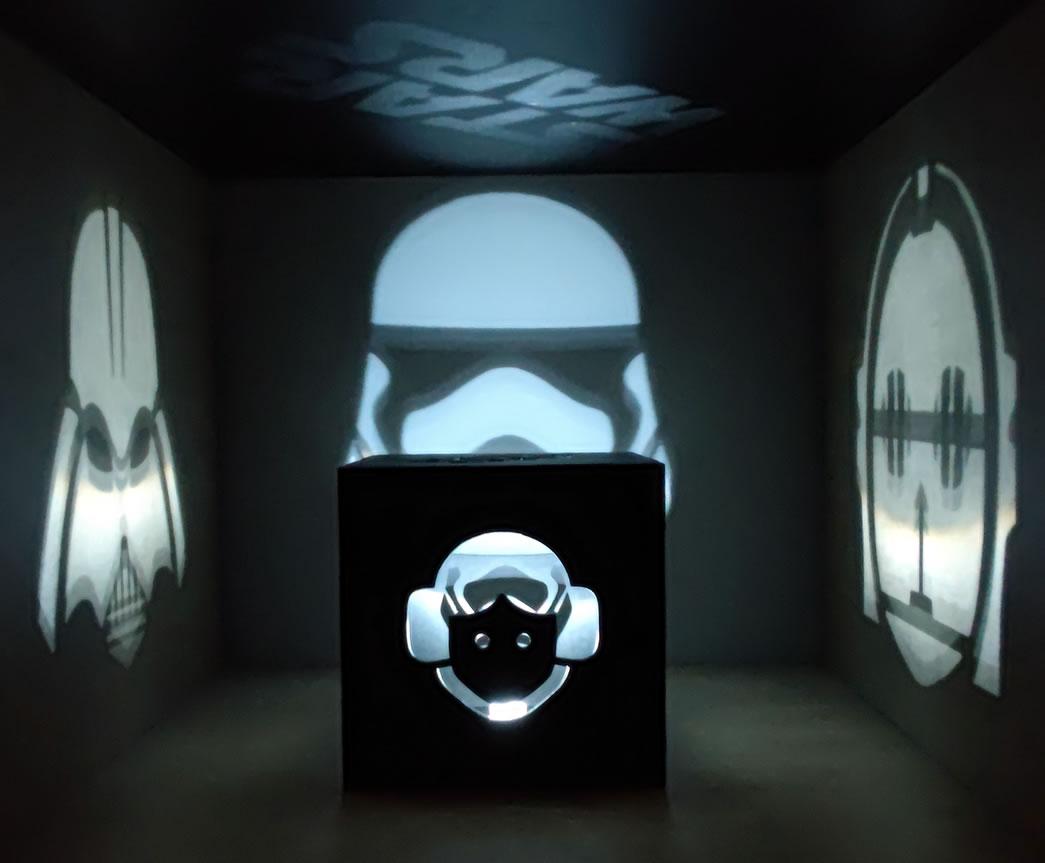 Luminária Cubo Led Tema Geek MOD4 PRETA