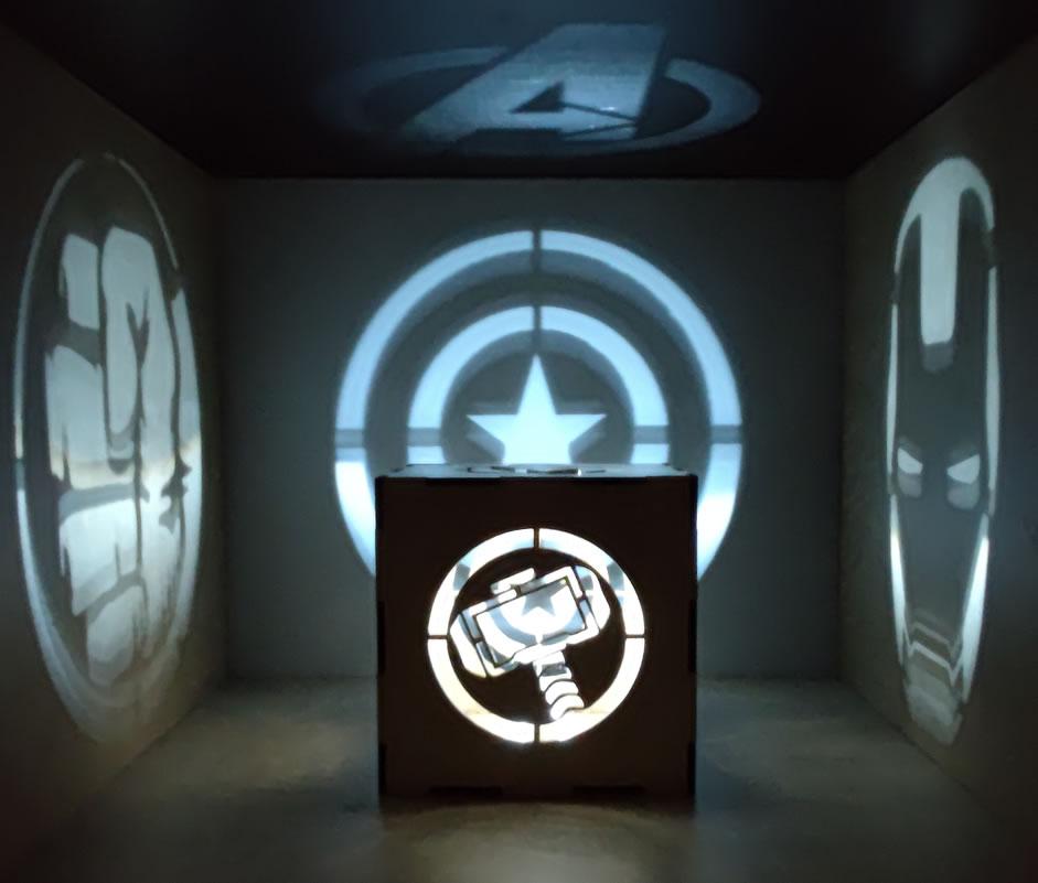 Luminária Cubo Led Tema Geek MOD6 BRANCA
