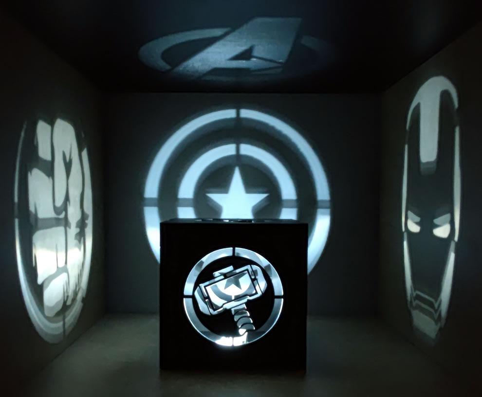 Luminária Cubo Led Tema Geek MOD6 PRETA
