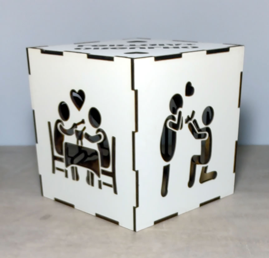 Luminária Cubo Led Tema LGBTQIA+ MOD1 BRANCA