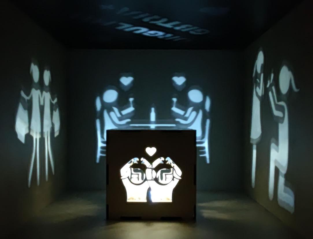 Luminária Cubo Led Tema LGBTQIA+ MOD2 BRANCA