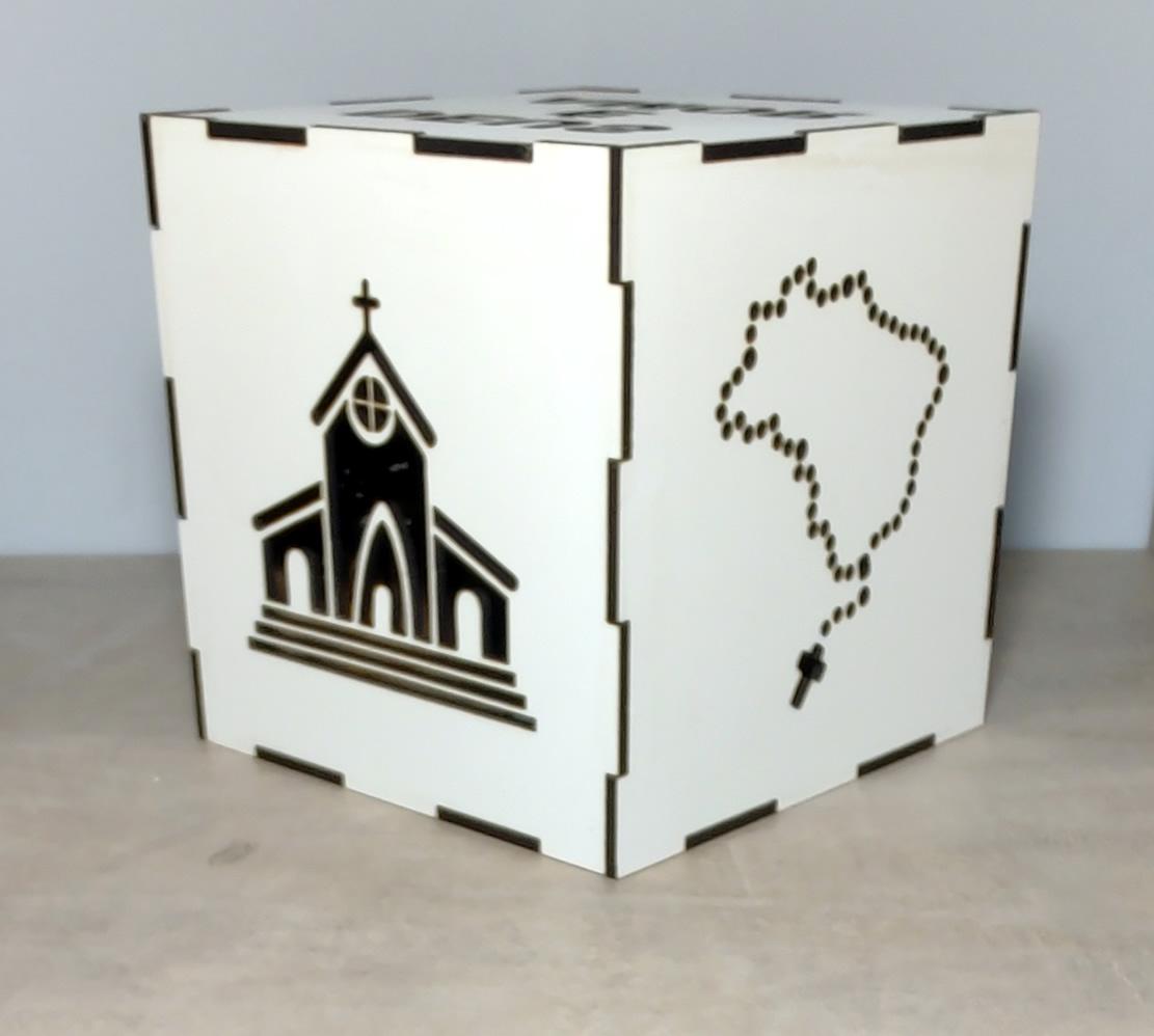 Luminária Cubo Led Tema Religião MOD1 BRANCA