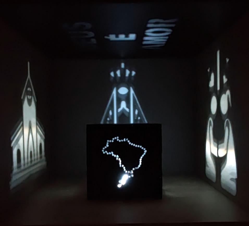 Luminária Cubo Led Tema Religião MOD1 PRETA