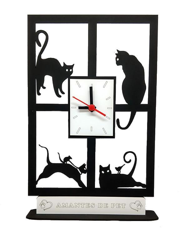 Relógio De Mesa Ou Parede 4 Gatos Na Janela Linha Pet