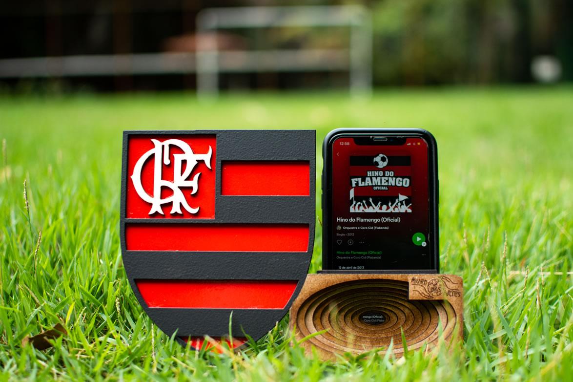 Suporte Celular Caixa Acústica Amplificadora Time Flamengo