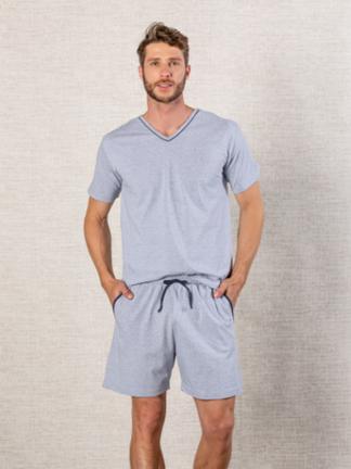 Pijama Masculino Decote V com Friso e Bolso