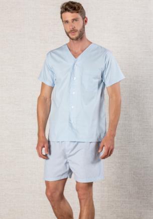 Pijama Masculino em Tricoline  Aberto com Bolso