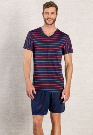 Pijama Masculino Listrado Decote V
