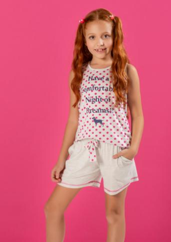 Pijama com Short Doll Regata com Silk e Bolso - Infantil.