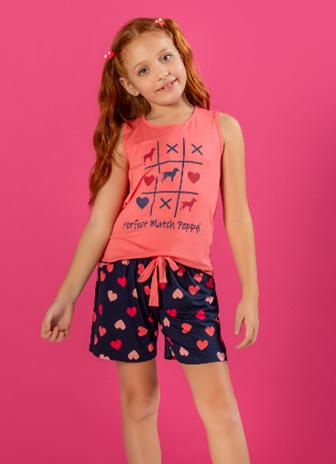 Pijama com Short Doll Regata com Silk - Infantil