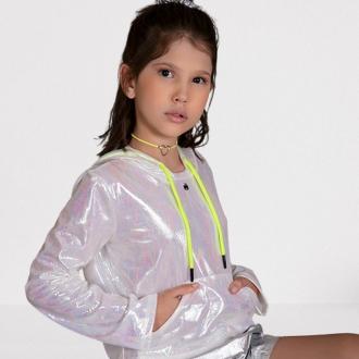 Blusa Holográfica com Capuz