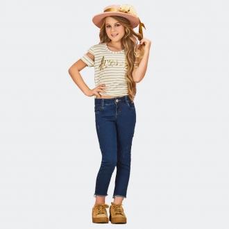 Calça Jeans c/ Lycra Desfiada Barra  - Kpd