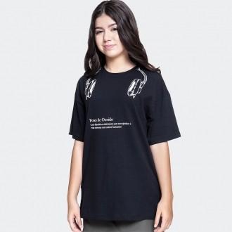 Camiseta Larguinha Estampa Fone