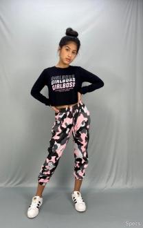 Conjunto blusa e calça camuflada malha - Sps