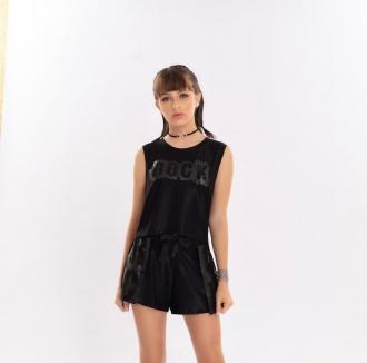 Conjunto blusa rock + Shorts c/ cinto - Bob