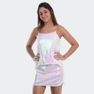 Conjunto Branco Blusa e Saia Paête
