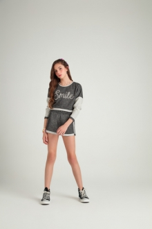 Conjunto moleton mescla blusa e shorts- Vanilla